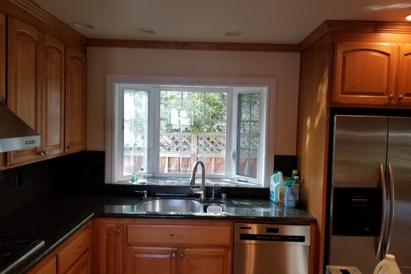 Kitchen with bay window